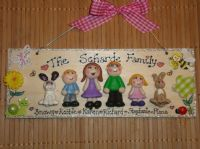 6 character (including pets) 3d Family Sign Handmade Personalised Plaque Customised To Order Garden or heart theme